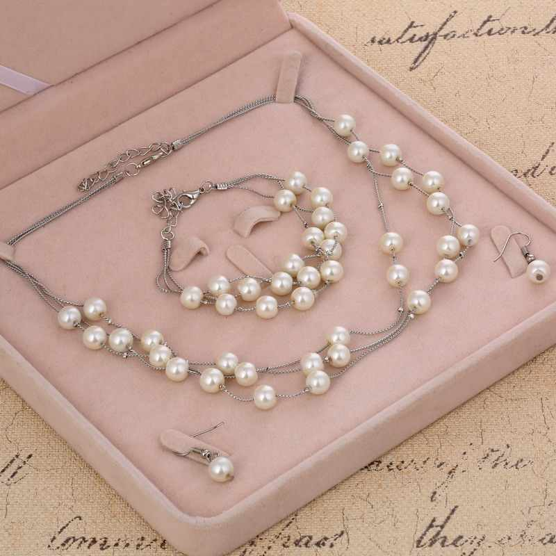 Hesiod Simulated Pearl Jewelry Sets Silver Color Multi-layer Beads Wedding Bridal Jewelry Sets Necklace Bracelet Earrings Set