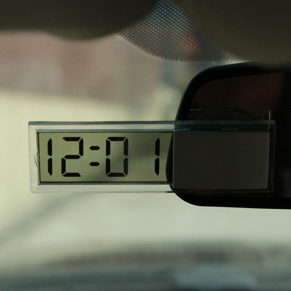 Creative Suck Clock for Car chuck type electronic clock automotive digital table transparent LCD clock Drop shipping