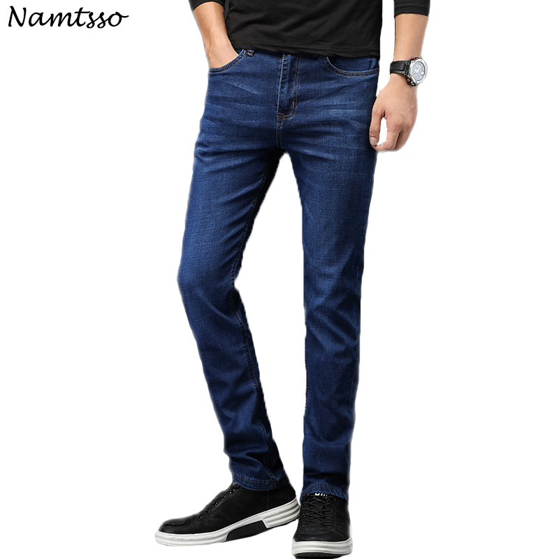 New Mens brand jeans Fashion Men Casual Slim fit Straight Stretch jeans men indigo blue hot male trousers Big size