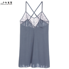 shaonvmeiwu Sexy lace nightwear ladies slim see-through seduction halter top in lingerie size