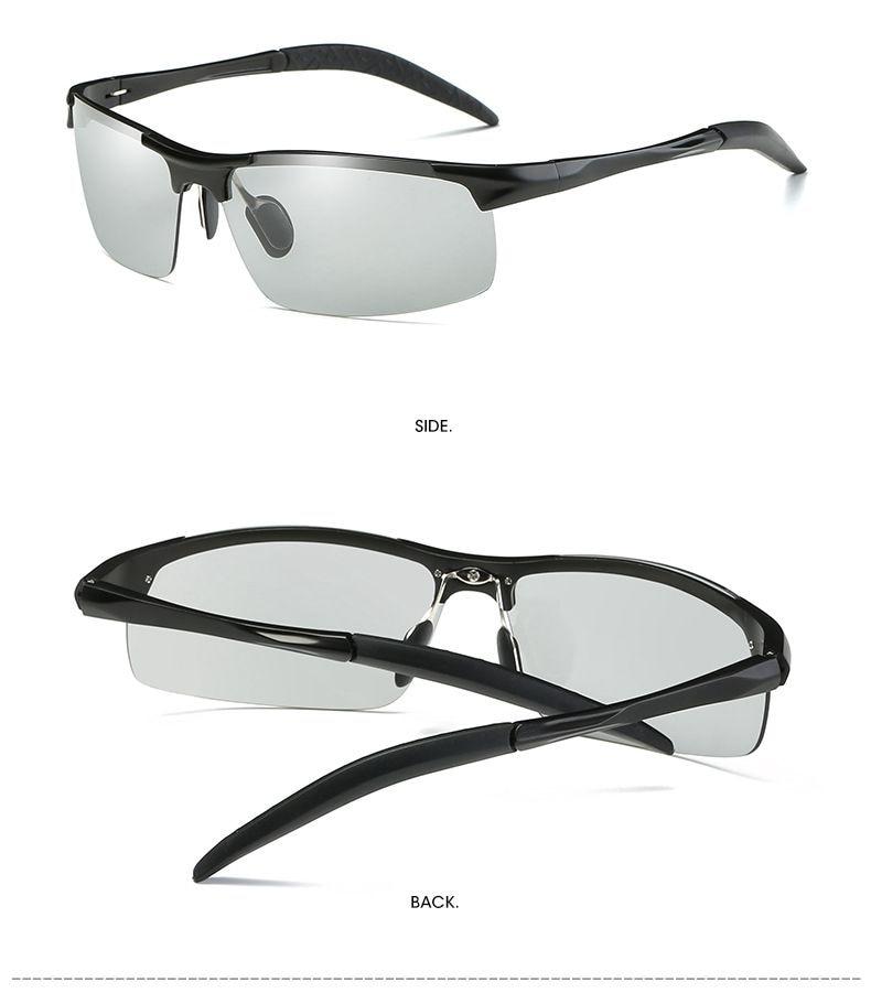 Image 5 - 2019 Photochromic Polarized Semi Rimless Sunglasses Driver Rider Sports Goggle Chameleon Change color Glasses Men Women 8177-in Men's Sunglasses from Apparel Accessories on AliExpress