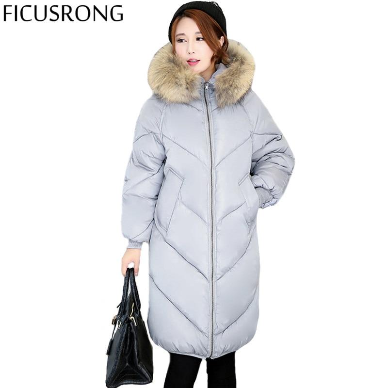 ФОТО 2016 Winter Women Coat Girls Long Fashion Slim thick Fur Collar Padded Jacket Wide Prednisone Plus Fertilizer IF866