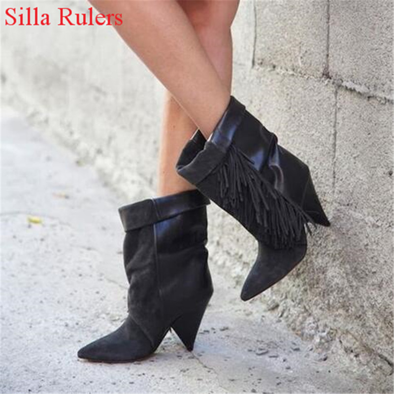 Suede Leather Fringe Women Ankle Boots Spike High Heels Boots Tassel Spring Winter Boots Ladies Shoes Woman Booties Botas Mujer hot selling chic stylish black grey suede leather patchwork boots mid calf spike heels middle fringe boots side tassel boots