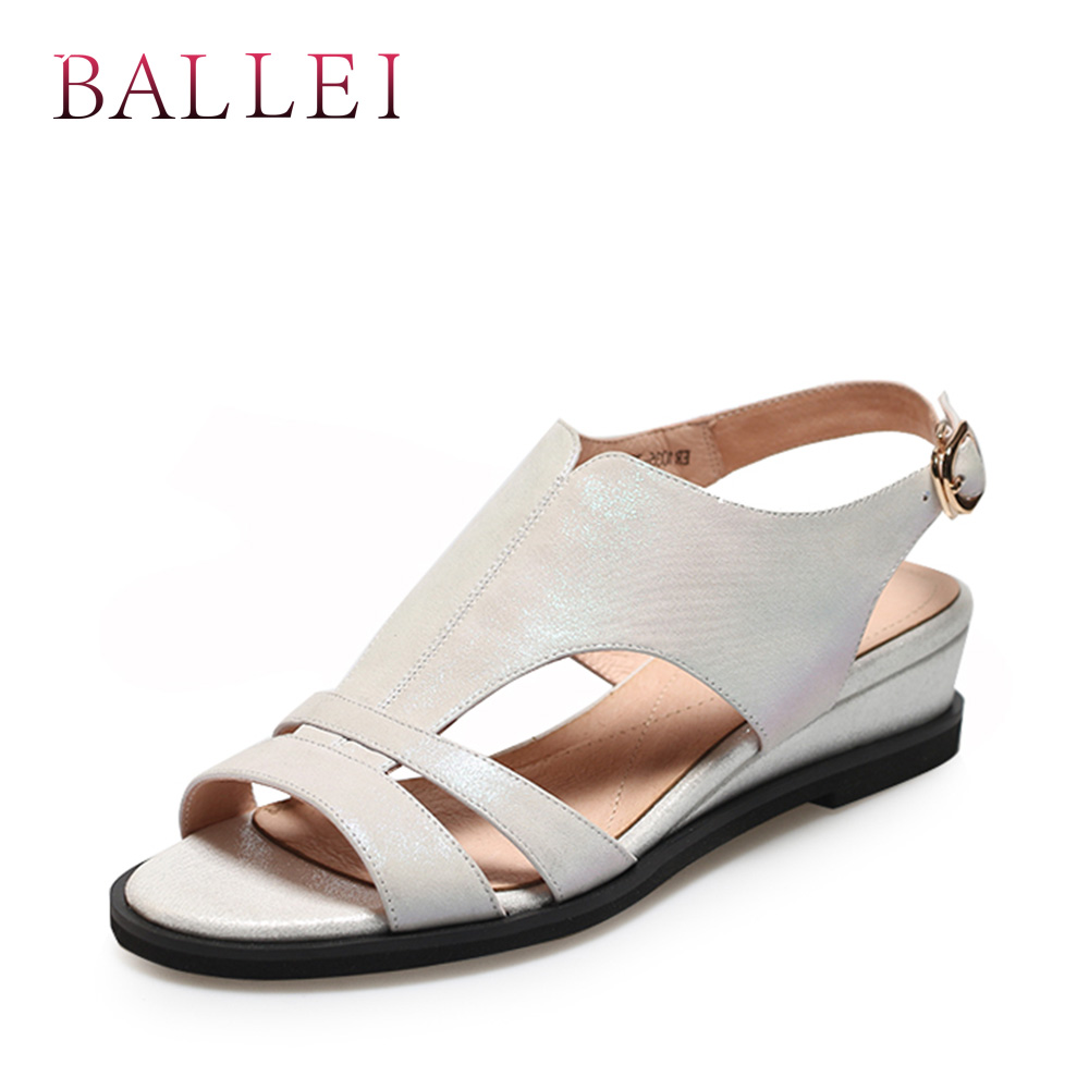 BALLEI Luxury Woman Summer Sandals High Quality Genuine Leather Ankle Strap Soft Wedges Shoes Solid Fashion Casual Sandals S95BALLEI Luxury Woman Summer Sandals High Quality Genuine Leather Ankle Strap Soft Wedges Shoes Solid Fashion Casual Sandals S95