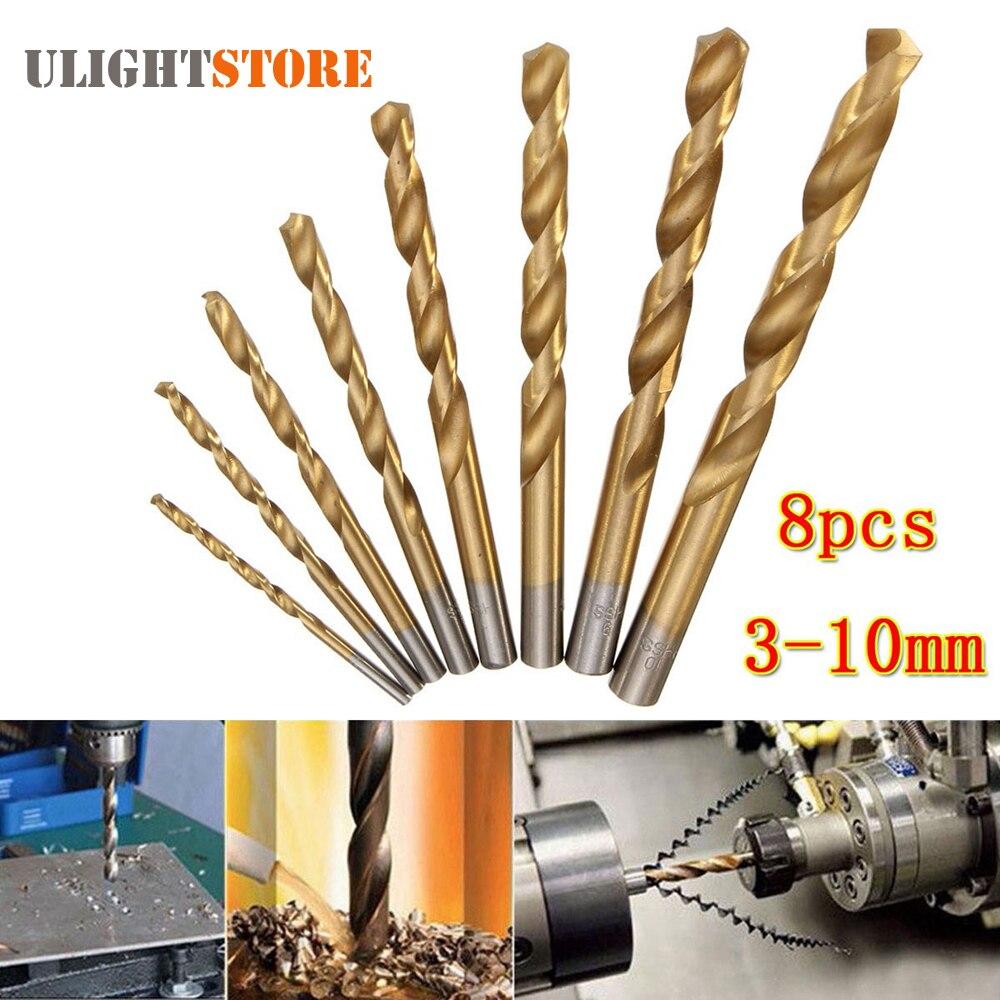 8pcs! HSS Steel Titanium Coated Twist Drill Bit Set 3-10mm Straight Shank Drill Bits Power Tool for Wood Metal Metalworking мягкая игрушка ty beanie boo s жираф twigs 25 см