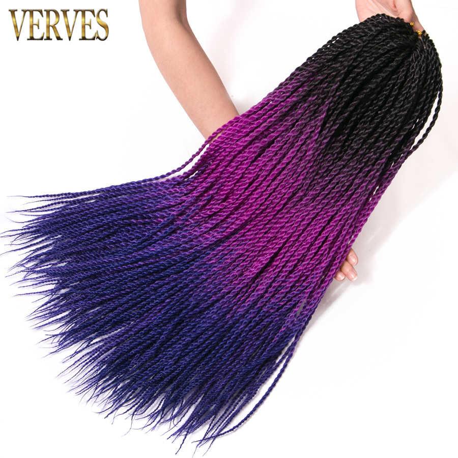 VERVES Ombre Сенегальские вьющиеся волосы 30 корней/упаковка 24 дюйма синтетические косички для наращивания плетение волос для женщин серый, Бонд, фиолетовый