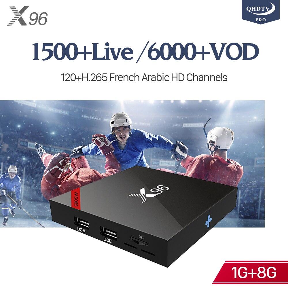 X96 Android 7.1 IPTV France Boîte Amlogic S905W 4 K 1 GB 8 GO boîtier de smart tv X96 1 Année Code IPTV français Belgique Italia Arabe IP TV
