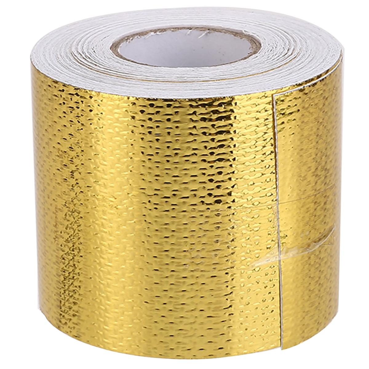 Universal 9M*5cm Car Heat Insulation Heat Shield Reflective Fiberglass Tape Engine Pipe Cover Auto Temperature Isolated
