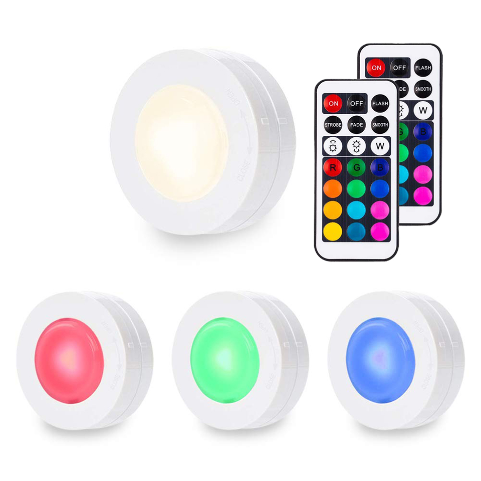 Xsky Led Night Light With Remote Control RGB Color Changeable Under Cabinet Lights LED Puck Light For For Kitchen Showcase Stair