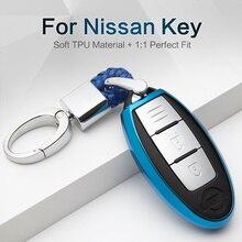 New TPU Car Key Case Cover For Nissan Note Micra K12 Qashqai J10 J11 Juke Teana Leaf Kicks Terrano Ring Shell Accessories