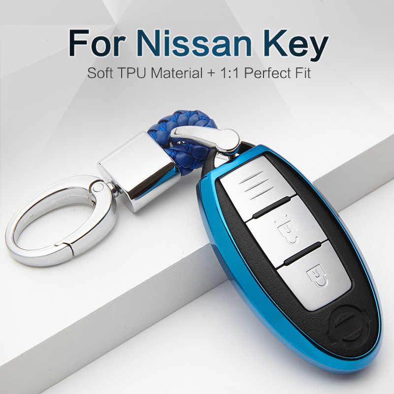 Yeni TPU Araba Anahtarı Durum nissan için kapak Not Micra K12 Qashqai J10 J11 Juke Teana Yaprak Başladı Terrano Anahtarlık Kabuk aksesuarları