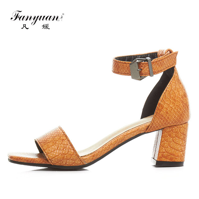 420063cf985d9 Fanyuan Original brand 2018 Summer Buckle strap shoes for women Office lady  sexy Square toe high Chunky heel Sandals sapatos