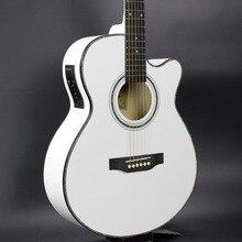 Electro Pop Con Tapa Llana Eléctrica Acústica Folk Guitarra Jumbo 40 Pulgadas Cutaway Afinador de Tilo Guitarra 6 Cuerdas de Luz Blanca