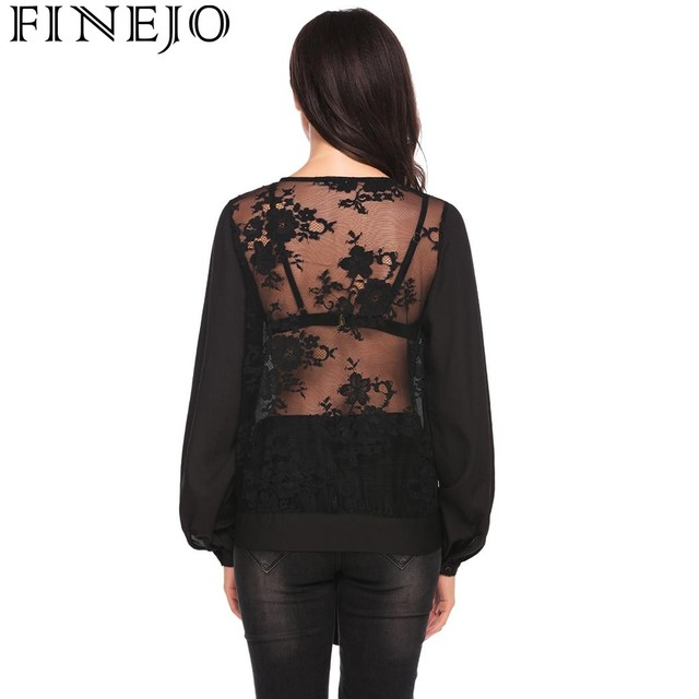 FINEJO Autumn Blouses Women s Clothing 2017 Fashion V-Neck See Through Back  Tie Floral Lace Patchwork Puff Sleeve Female Shirt 3241294ae188