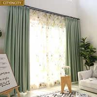 Плотные затемненные занавески для спальни, Современные Плотные Занавески Из Искусственного льна для гостиной, занавески на окна, готовые з...