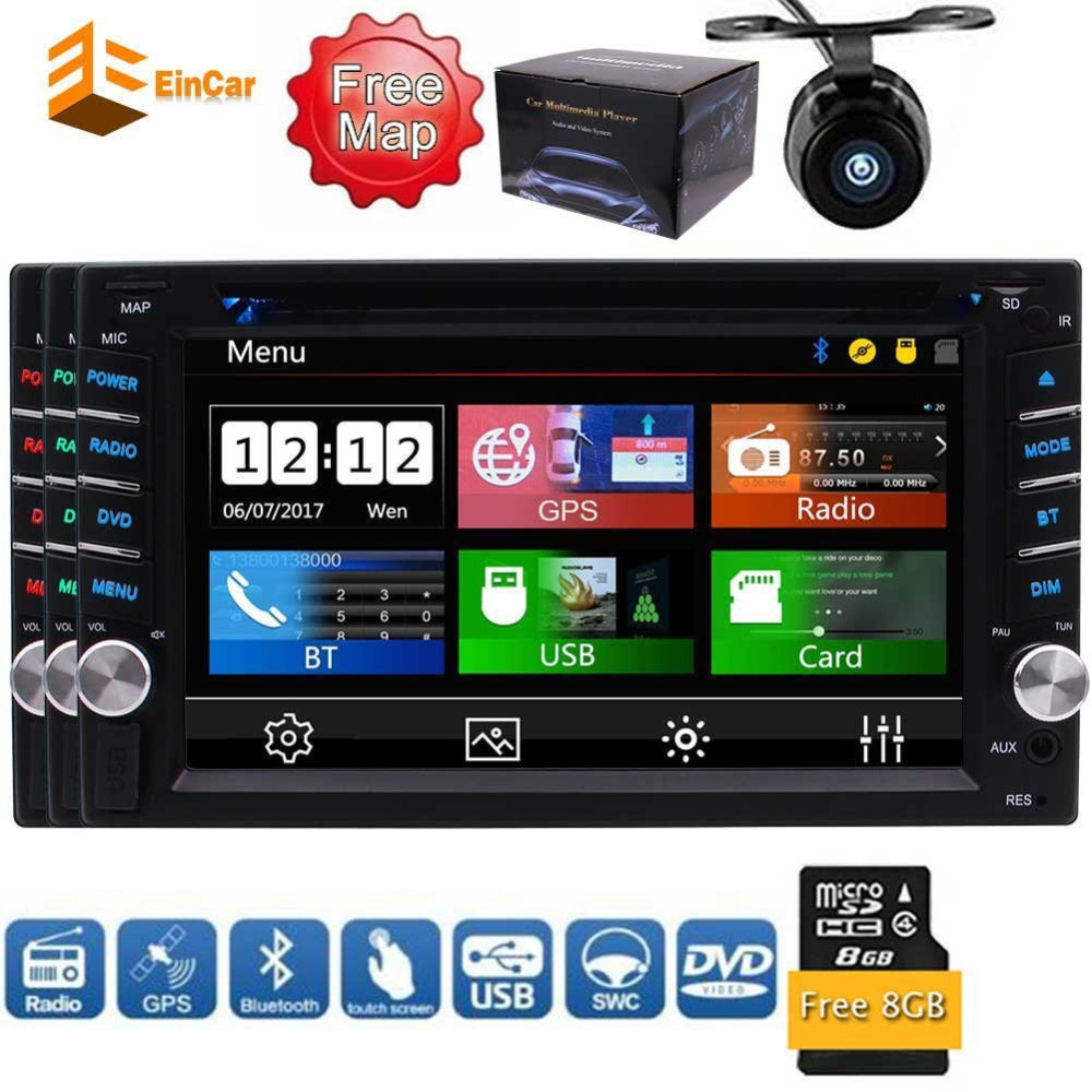 6.2'' Digital LCD Monitor Double DIN in Dash Car FM/AM Dvd Player Stereo Bluetooth USB Sd Radio 2 DIN+Car Camera+Remote Control car stereo dvd player for gmc chevy silverado 1500 2012 gmc sierra 2011 2010 7 double din in dash touchscreen fm am radio gps