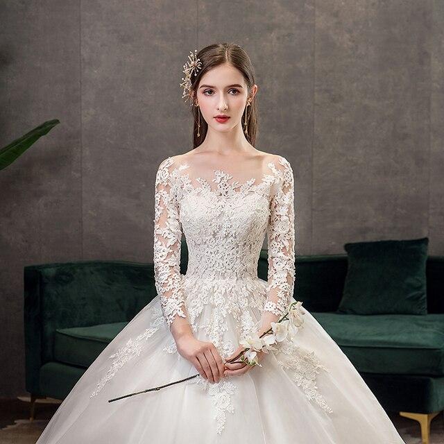 Full Sleeve Wedding Dresses 2021 Lace New Luxury Muslim Ball Gown Wedding Dress Custom Made Vestido De Noiva X 2