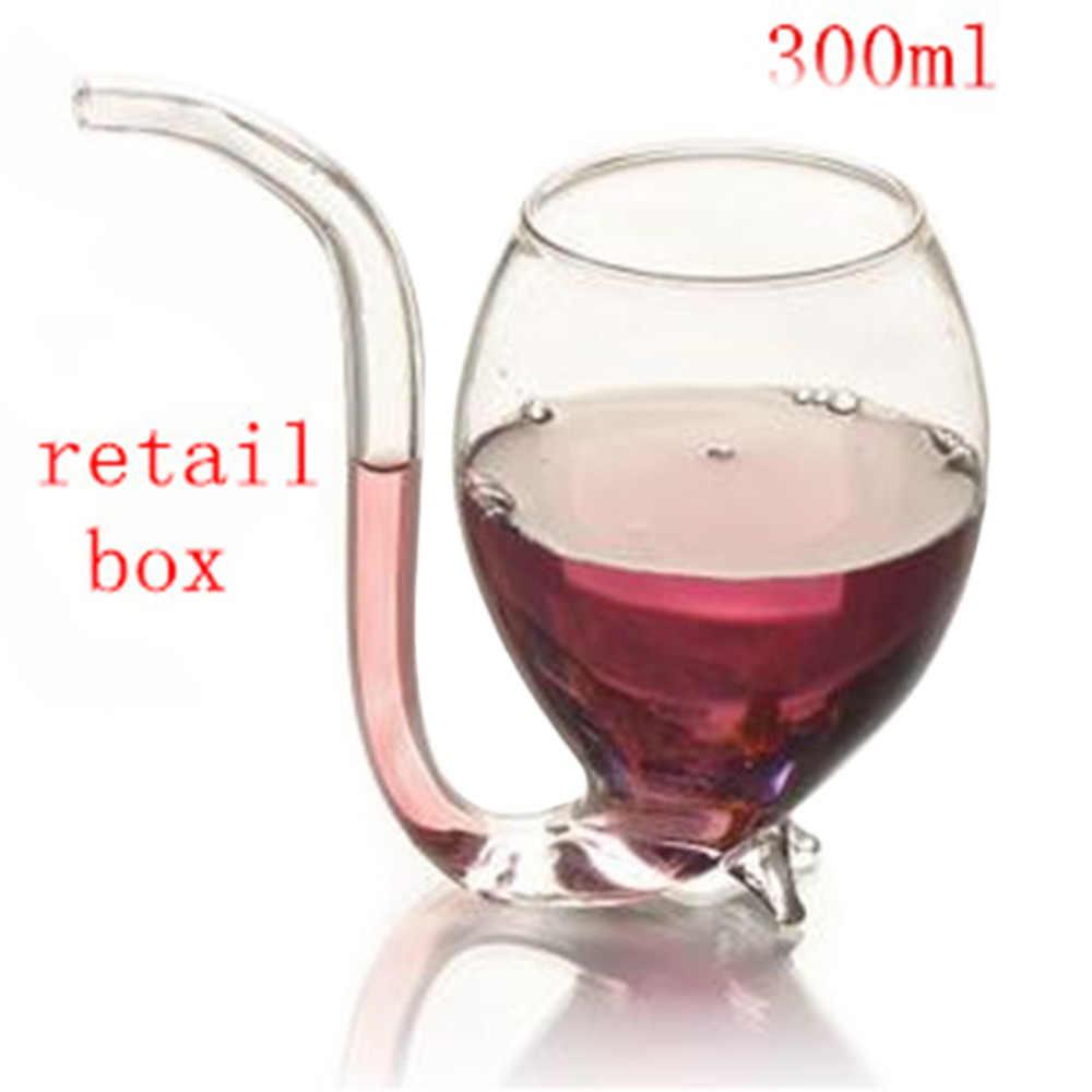 الإبداعية 300 مللي الشيطان كوب نبيذ أحمر كوب شفاف الأواني الزجاجية القدح مع المدمج في شرب أنبوب القش