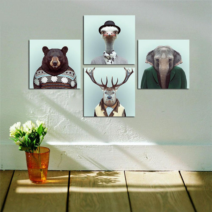 Hot sale bear canvas art animal decorative pictures deer - Home interior deer pictures for sale ...