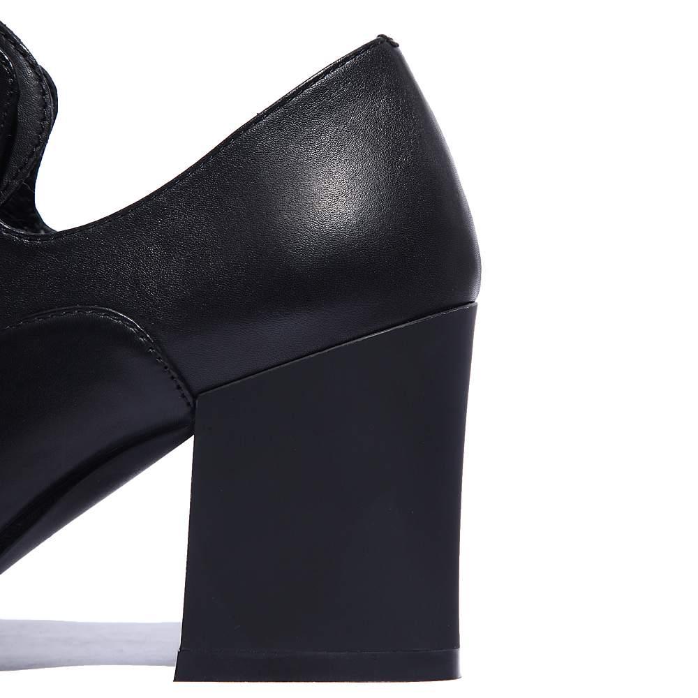 2019 moda Streetwear de cuero genuino con cordones clásicos del dedo del pie puntiagudo tacones altos británico de la Oficina de la escuela dulce dama mujeres bombas L97-in Zapatos de tacón de mujer from zapatos    2