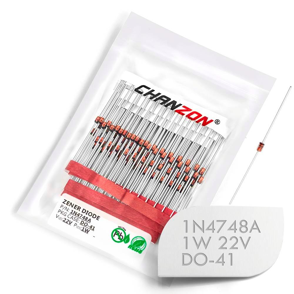 (100 Pcs) 1N4748A 1N4748 Power Zener Diode 1W 22V DO-41 (DO-204AL) Axial 1 Watt 22 Volt IN 1N 4748A IN4748A
