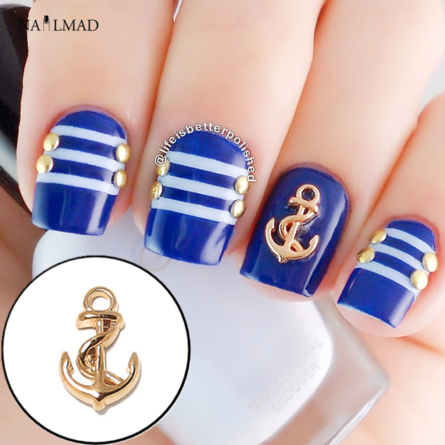 Aliexpress buy 10pcs gold anchor 3d nail decoration metal 10pcs gold anchor 3d nail decoration metal nail charm diy nail sticker accessory nail art tool prinsesfo Gallery
