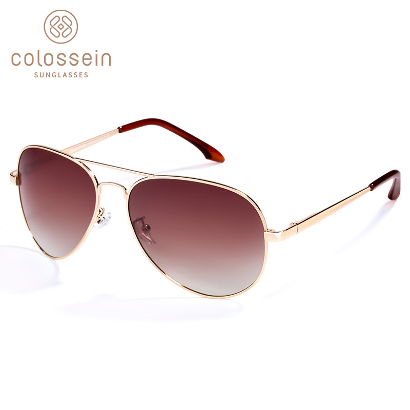 COLOSSEIN Sunglasses Women Polarized Brand Classic Metal Pilot Sun Glasses For Men Brown Lens Fashion Style UV400 Gafas De Sol
