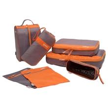 CHOOCI 7pcs Casual Shoes Clothes Storage Bags Set For Travel Business Trip Color:Grey + Orange