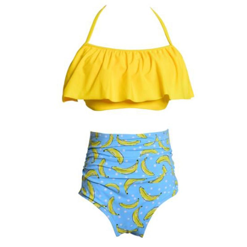 2018 Two-Piece Grils Swimwear Cartoon Banana Print Cute Children Girls Summer Swimsuit Beachwear Swimming Costume De Bain Fille