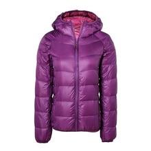 2016 women ultra light down jacket hooded winter duck down jackets slim long sleeve parka zipper