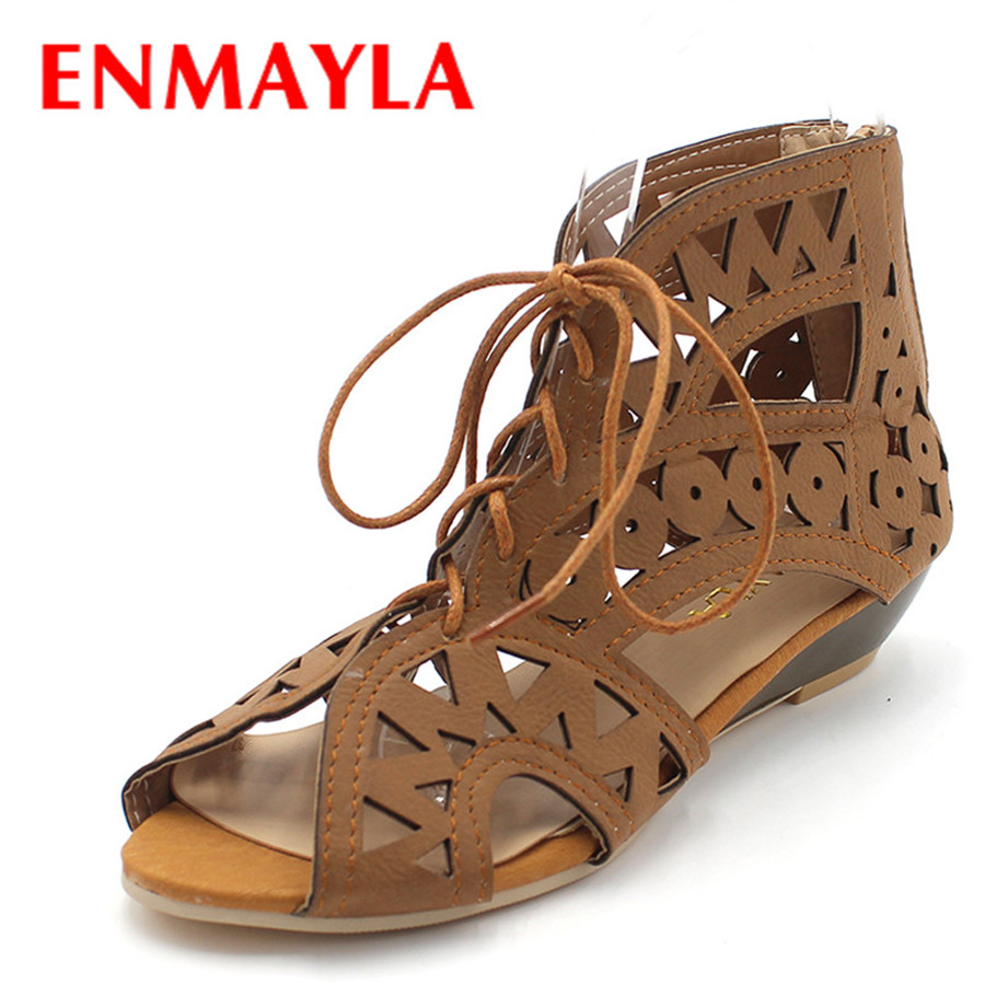 ENMAYLA Big Size 34-43 Fashion Cutouts Lace Up Women Sandals Open Toe Low Wedges Bohemian Summer Shoes Beach Shoes Women sgesvier fashion women sandals open toe all match sandals women summer casual buckle strap wedges heels shoes size 34 43 lp009