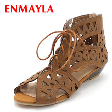 ENMAYER  Big Size 34-43 Fashion Cutouts Lace Up Women Sandals Open Toe Low Wedges Bohemian Summer Shoes Beach shoes women