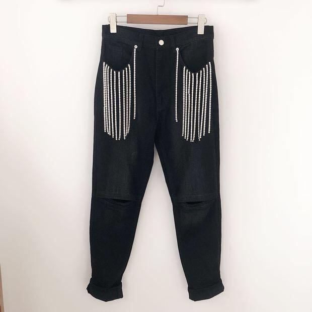 Nouvelle 2018 Pantalon Szxj Diamants Jeans Vainqueur Femmes Gland YfyIb76gv