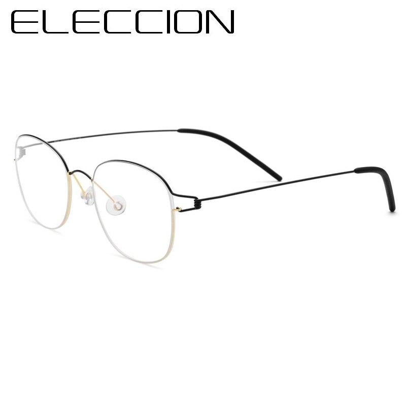 40f2e2bf9ade9 ELECCIÓN Ultraleve de Titânio Puro Coreano Rodada Óculos de Armação Homens  Óculos de Miopia Armações de