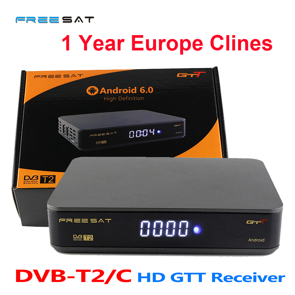 7 Lines Cline for 1 Year Europe Freesat GTT Receptor DVB-T2 DVB-C Cable Satellite Receiver Full 1080P Youtube OTA Freesat TV Box best v8 golden receptor satellite dvb t2 s2 c satellite receiver 1 year europe cccam cline support powervu biss key via usb wifi