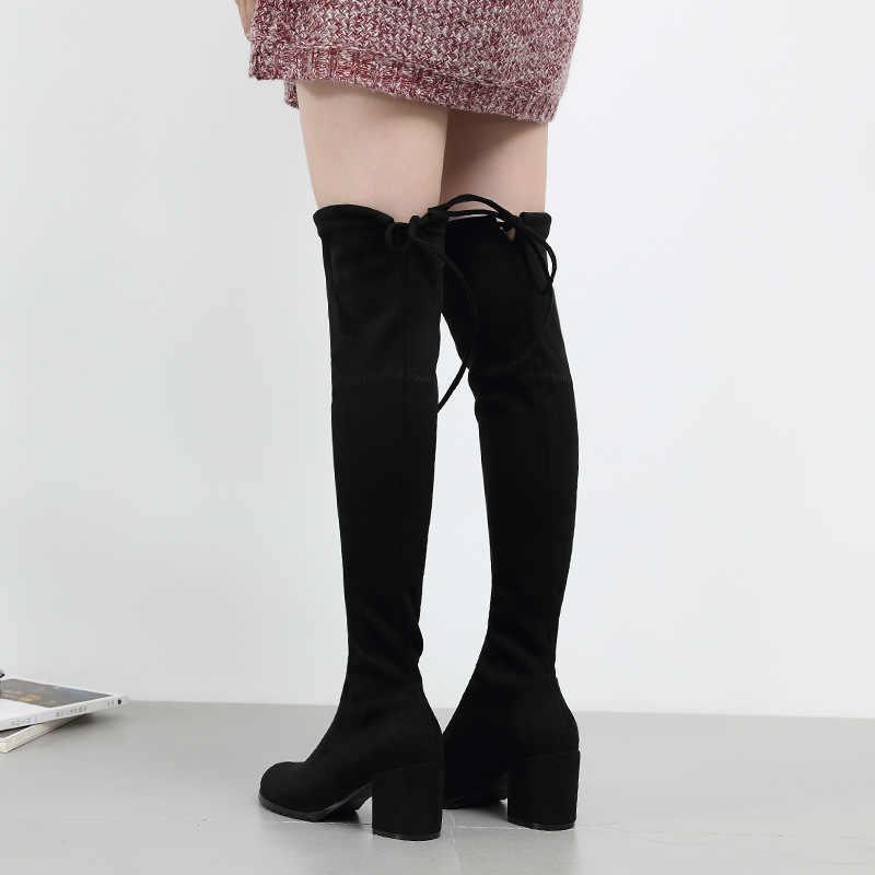 Sexy Elastische Flock Slim Fit Über Das Knie Stiefel Frauen schuhe 2021 Herbst Winter damen high heel Lange Oberschenkel Hohe botas