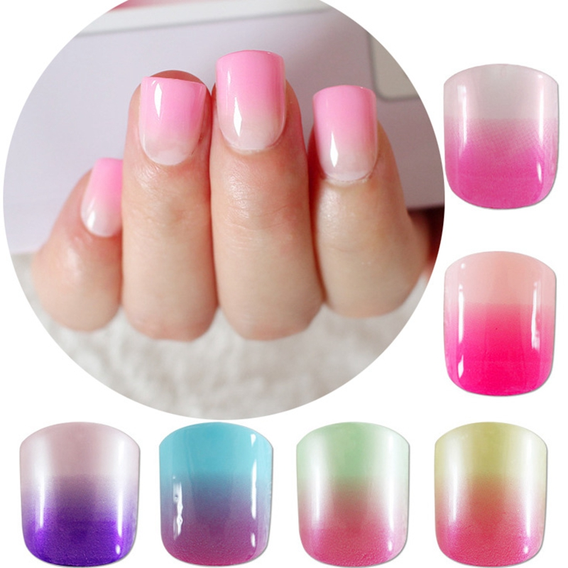 Fashion False Nails Candy Gradient Pink Purple Acrylic Fake Nails ...
