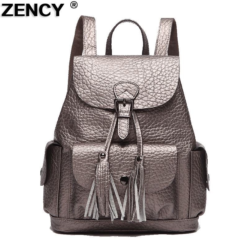 ZENCY Backpack Fashion Designer Genuine Leather Designer For Girls Silver Gray Black Red School Backpacks Daily