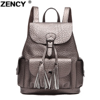 ZENCY Mochila de Cuero Genuino del Diseñador de Moda de Diseño Para Las Muchachas Gris Plata/Negro/Rojo de La Escuela Mochilas Diarias Bolso Femenino niñas