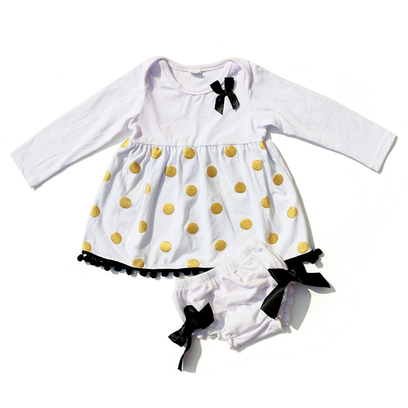 2018 Kaiya New Hot Born Infant Kids Toddler Baby Clothe Baby Summer Bow-knot Boutique Girls Polak Dot Outfits Suit Clothes