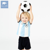 DB7612 dave bella summer baby boys striped clothing sets children sport suit kid's high quality clothes Outfits for boy