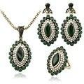3 Pcs jóias turco luxo turquesa verde brincos e colar para mulheres casamento nigeriano Beads africanos Set jóias Crystal