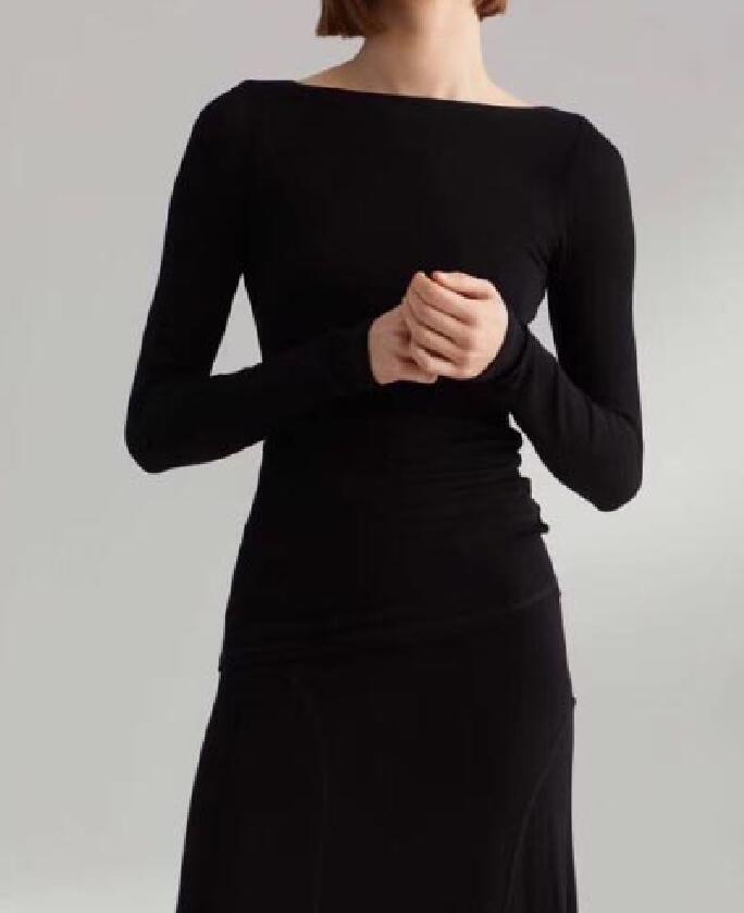 Kadın Giyim'ten Tişörtler'de Rimont en nougat Siyah Moda Viskon Üstleri Tekne Boyun scoop Geri Uzun Kollu ince siluet Moda Elastik Tayt Kadın'da  Grup 3