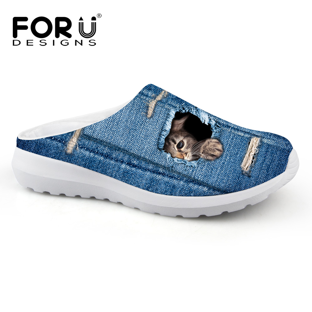 FORUDESIGNS Fashion Women Casual House Slippers Cute 3D Denim Cat Dog Prints Summer Beach Slippers for Ladies Slip-on Sandals