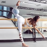 JNC High Waist Leggings In White Sport Yoga Pants For Women Fitness Mesh Workout Leggings Active