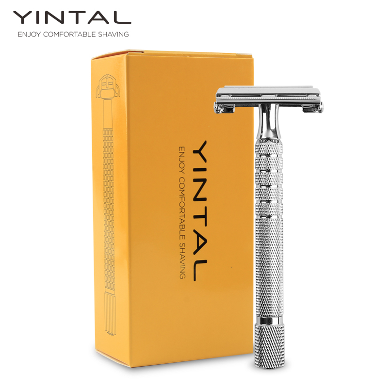 YINTAL Chrome Long Handle 11.3 CM Version Butterfly Open Double Edge Safety Razor Durable Plated with Over The Heavy Alloy r l sterup over the edge