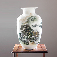 Jingdezhen Fine Bone China Vase Antique Chinese Vases With Peony And Rivers Mountains Pattern