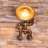 Винтаж водопровод бра Лофт Склад настенный светильник lamparas де сравнению медь Промышленных Ретро роскошные стены Бра Светильники