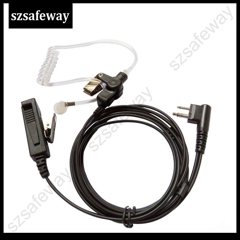 2 Wire Acoustic Tube Earpiece with Ptt Mic for Motorola GP300 CP040 GP88,Radio Rocket Surveillance Kit Earphone Fit Motorola 2Pin Durable PU Cable Clear Sound