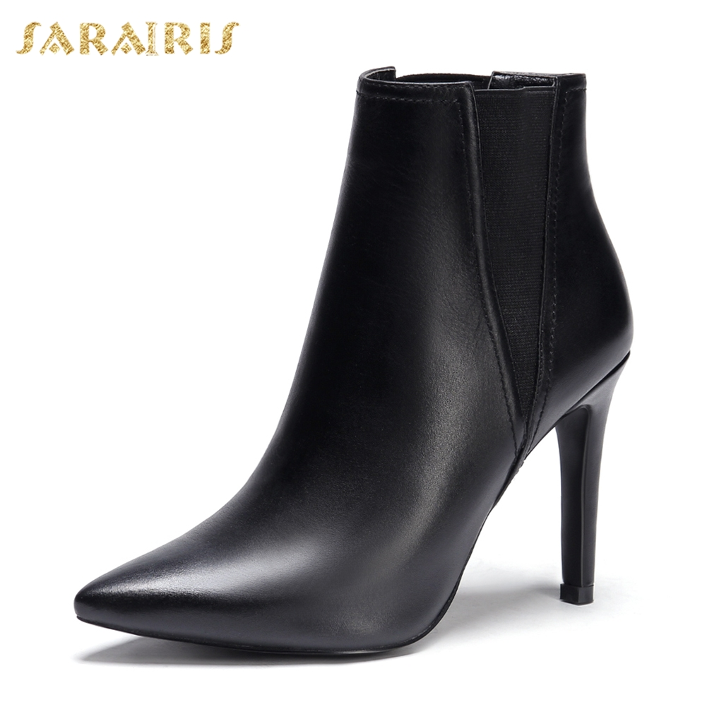 Chaussures Bottes Femme Haute En Vache Noir Cuir Talons Sexy Cheville Sarairis 2018 Femmes Bout Mince Pointu De Marque Véritable n8Tqv